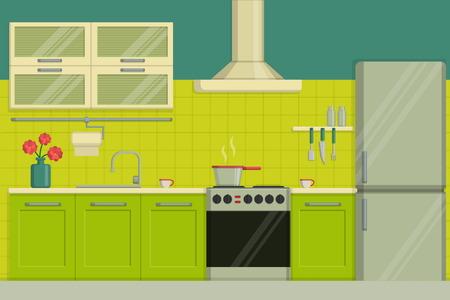 kitchen furniture: Interior illustration of a modern lime colored kitchen including furniture, oven, kitchen hood, utensils, fridge. Illustration