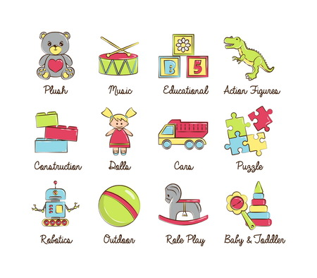 toddlers: A collection of colorful modern cartoon outlined icons for various toys kinds and categories for kids, babies and toddlers, boys and girls. For web, presentations, stickers, etc. Illustration