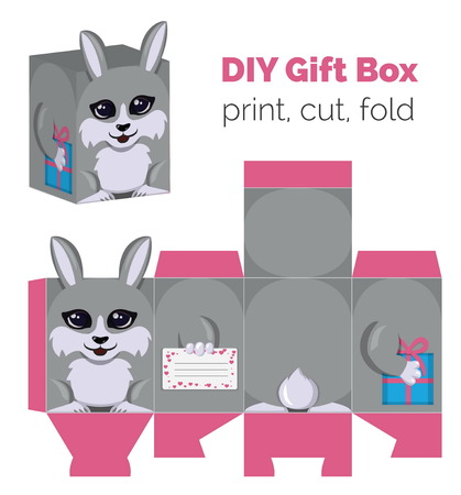do it yourself: Adorable Do It Yourself DIY rabbit gift box with ears for sweets, candies, small presents. Printable color scheme. Print it on thick paper, cut out, fold according to the lines. Illustration