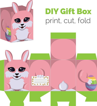 according: Adorable Do It Yourself DIY Easter bunny with egg gift box with ears for sweets, candies, small presents. Printable color scheme. Print it on thick paper, cut out, fold according to the lines.