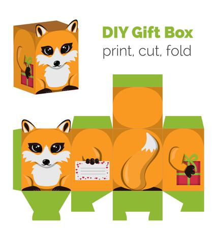Adorable Do It Yourself DIY fox gift box with ears for sweets, candies, small presents. Printable color scheme. Print it on thick paper, cut out, fold according to the lines. Vectores