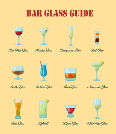 naming: Bar glass guide: a collection of various kinds of vector bar glasses, their proper naming and usage for drinks