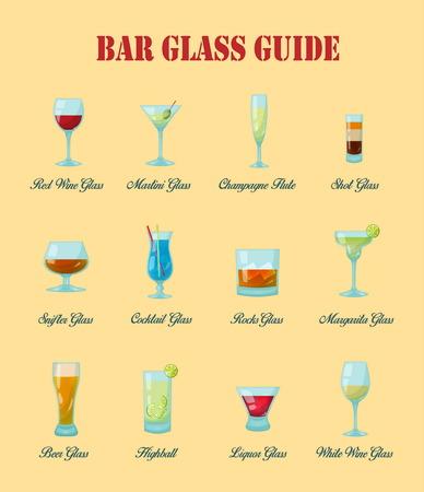 Przewodnik po barze: kolekcja różnego rodzaju szklanek do pasków wektorowych, ich właściwe nazewnictwo i używanie do napojów