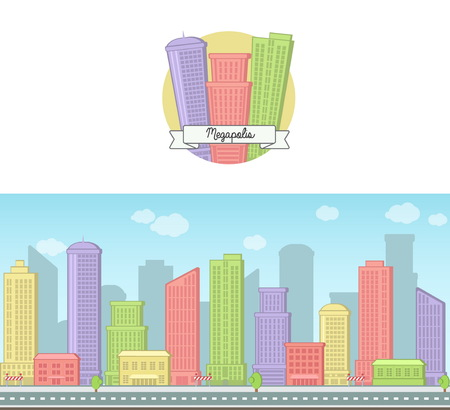 downtown: Bright sunny day vector background and icon of a modern big city downtown skyscraper house skyline for web and games Illustration