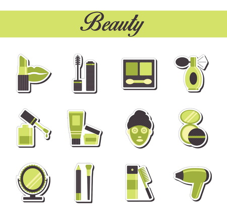 beuty: A collection of stylish modern flat sticker icons with pattern coloring for beuty, cosmetics and spa. For web, presentation, stickers, etc Illustration