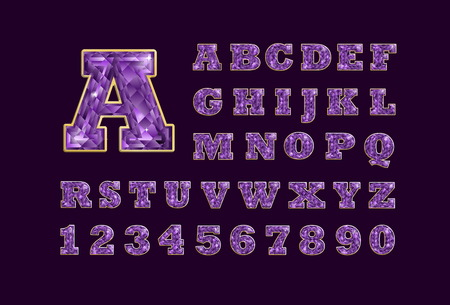 precious stone: Stylized  vector sparkling jeweled amethyst precious stone  fancy latin abc alphabet. Use letters to make your own text Illustration