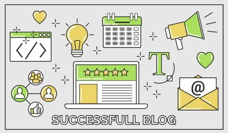 content writing: Flat vector thin line illustration of how to establish a successful 5 star blog. It includes: newsletter, social, seo, content writing, design, coding, idea, etc Illustration