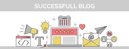 Flat vector thin line header banner illustration of how to establish a successful 5 star blog. It includes: newsletter, social, seo, content writing, design, coding, idea, etc