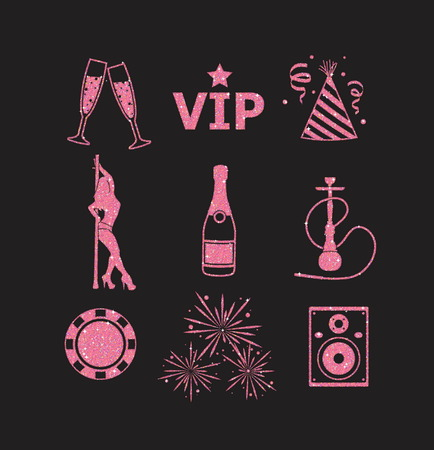flier: A collection of sparkling pink glitter stylized fancy night club and party icons for flier, banner, typography, web, design.