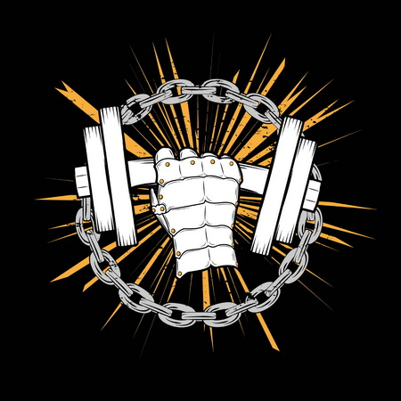 powerfully: Vector illustration of an iron bodybuilding hand powerfully  lifting heavy dumbbell on a grungy orange background with iron chains. For t-shirts, gym coat of arms, etc Illustration
