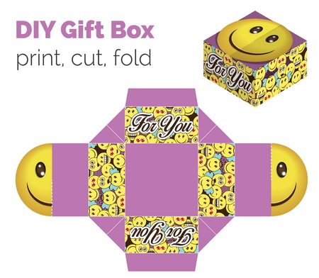 according: Lovely Do It Yourself DIY smiling expression gift box for sweets, candies, small presents. Printable color scheme. Print it on thick paper, cut out, fold according to the lines Illustration