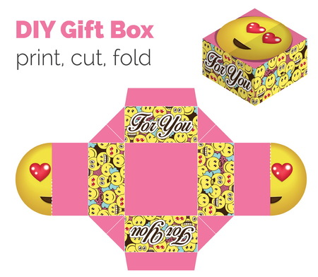 birthday greetings: Lovely Do It Yourself DIY in love expression gift box for sweets, candies, small presents. Printable color scheme. Print it on thick paper, cut out, fold according to the lines Illustration