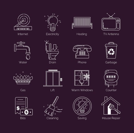 Eine Reihe von modernen dünne Linie weiß öffentliche Versorgungs, Wohneinrichtungen, Symbole kommunalen Wohnungswirtschaft Vektor Vektorgrafik