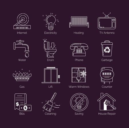 Un conjunto de delgada línea blanca utilidad pública moderna, instalaciones de alojamiento, servicios de vivienda iconos vectoriales comunales Ilustración de vector