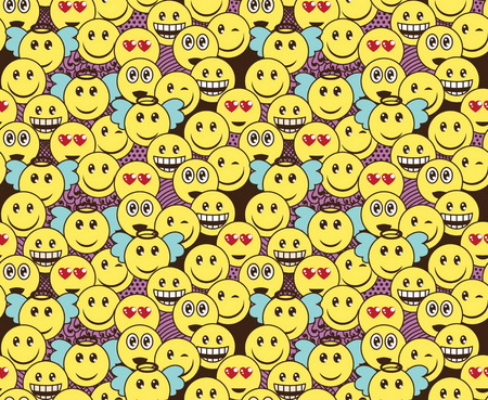 Seamless doodle pattern with fun positive emoticon expressions. Smile, wink, angel, surprised, in love, laugh smileys included