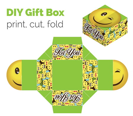 according: Lovely Do It Yourself DIY wink smiley expression gift box for sweets, candies, small presents. Printable color scheme. Print it on thick paper, cut out, fold according to the lines Illustration