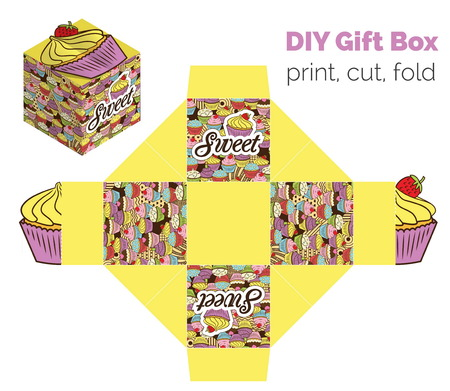 fancy sweet box: Sweet Do It Yourself DIY cupcake packaging for deserts, candies, small gifts, toys. Printable color scheme. Print it on thick paper, cut out, fold according to the lines