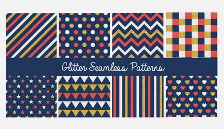 pleat: Set of seamless simple cute baby patterns with glitter elements. Includes white, red and golden stars, hears, stripes, zigzag, flags, dots and pleat on white background