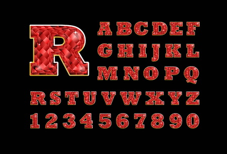 ruby: Stylized  vector sparkling jeweled ruby precious stone  fancy latin abc alphabet. Use letters to make your own text