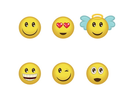 A set of fun positive emoticon expressions. Smile, wink, angel, surprised, in love, laugh smileys included Illustration