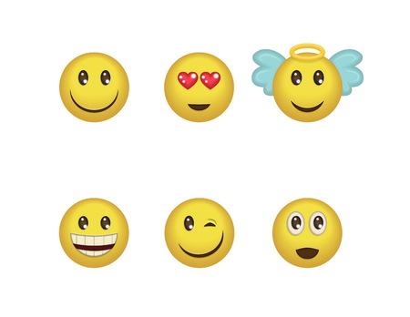 carita feliz caricatura: Un conjunto de diversión emoticon expresiones positivas. Sonrisa, guiño, ángel, sorprendido, en el amor, reír smileys incluidos