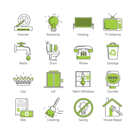 servicios publicos: Un conjunto de línea delgada moderna con la utilidad pública coloración verde, instalaciones de alojamiento, servicios de vivienda iconos vectoriales comunales