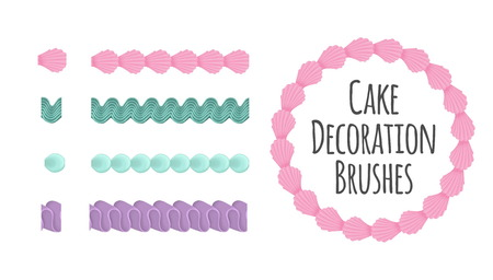 Naturally coloured realistic looking butter cream icing cake and dessert seamless decoration brushes. Drag the element to brush pannel to create a pattern brush