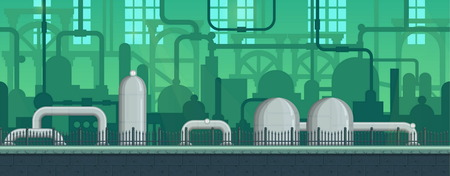 Seamless endless industrial postapocalyptic game environment illustration with pipes and machinery siloettes. Separated layers for game development Vectores