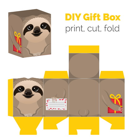 decoratively: Adorable Do It Yourself DIY sloth gift box for sweets, candies, small presents. Printable color scheme. Print it on thick paper, cut out, fold according to the lines.