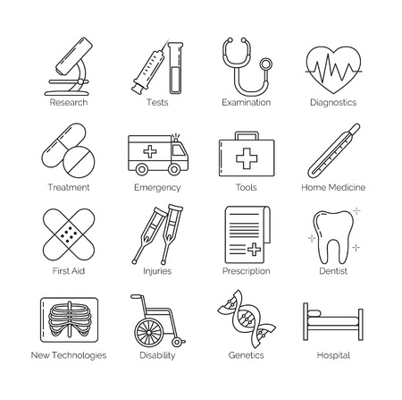 categories: A set of thin black line icons on white background for medical tools, actions and categories, including diagnostics, tests, disability, prescription