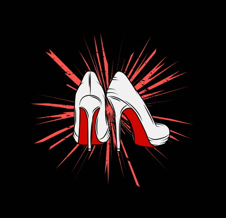 stiletto: illustration of a pair of high stiletto heel shoes with red soles on a grungy background, symbolizing girl power for t-shirt, emblem Illustration