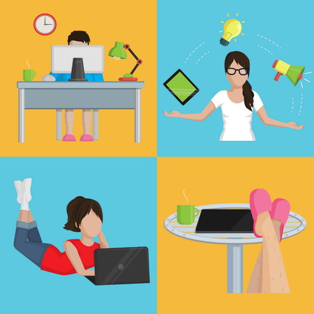 freelancer: A collection of flat simplified modern illustrations for various aspects of a freelancer workflow. Comfortable private workplace, planning, vacation