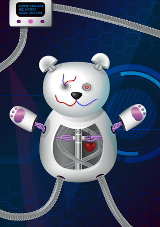 cords: Fantasy futuristic hi-tech illustration of a bionic robot mechanical teddy bear with red heart, cords, charger and other elements