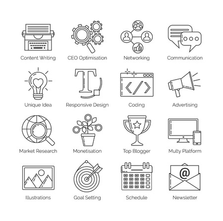 content writing: A set of flat thin line icons on white background for successful blogging business. It includes: newsletter, social, seo, content writing, design, coding, idea, etc Illustration
