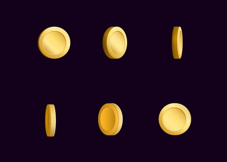 spin: sheet effect animation of a spinning golden coin sparkling and rotating. For video effects, game development