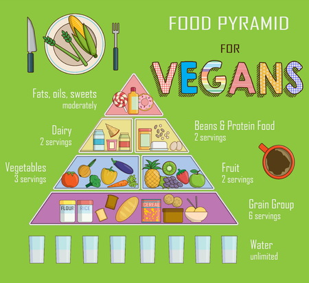 human pyramid: Infographic chart, illustration of a food pyramid for vegetarian nutrition. Shows healthy food balance for successful growth, education and progress