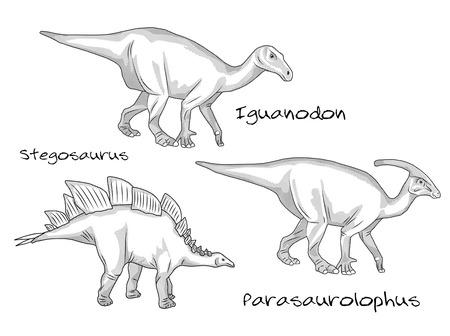 stegosaurus: Un conjunto de finas ilustraciones de estilo de grabado de línea de diversos tipos de dinosaurios prehistóricos, que incluye estegosaurio, parasaurolophus, iguanodonte.
