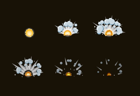 brandweer cartoon: Blad voor cartoon mist brand explosie, mobiel, flash game effect animatie.