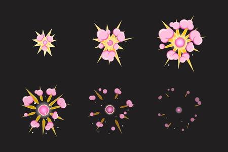 brandweer cartoon: Blad voor cartoon brand roze mist ontploffing, mobiel, flash game effect animatie.