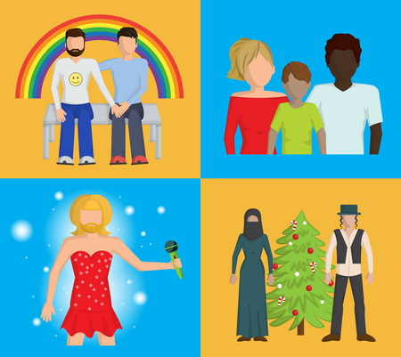 preferences: Set of four bright flat illustrations showing that people have to be tolerant to those who have different skin, religion, love and style preferences Illustration