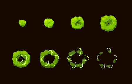 bide: Feuille pour l'acide cartoon explosion toxique, mobile, effet d'animation de jeu flash. 8 images sur fond sombre
