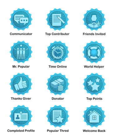 contributors: A set of glossy blue achievement winnwer badges to appreciate top contributors. For web, social applications and sites, forums and blogs.