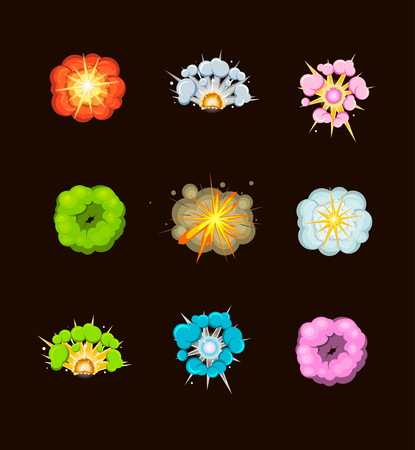 A set of bright comic cartoon explosions for design and illustrations. Acid, fire, stone and other explosions with coluds of fog and sparkles. Illustration
