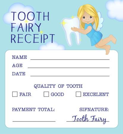 Cute tooth fairy receipt certificate fun document design to reward children who loose their baby teeth