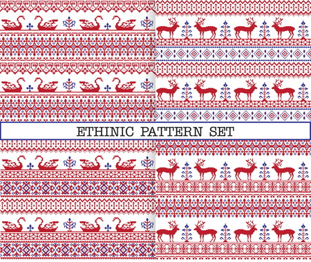 red cross red bird: A set of ethnic traditional slav embroidery seamless patterns in red, blue and white colours with floral borders, deer and geese.