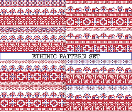 rushnik: A set of ethnic traditional slav embroidery seamless patterns in red, blue and white colours with floral borders, trees and houses. Illustration