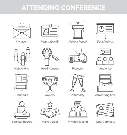 attending: A set of flat thin line icons for attending a conference meeting, making conference reports, networking