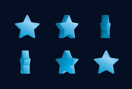 Sheet effect animation of a spinning golden star sparkling and rotating. For video effects, game development