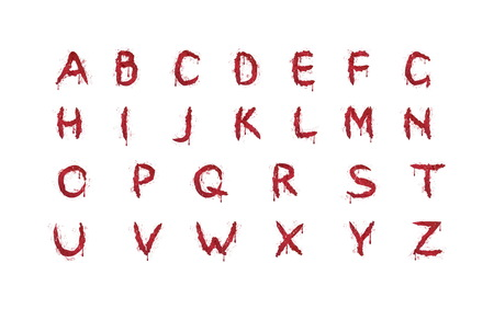 Bloody red latin alphabet. Spooky dripping blood letters, use to compound your own words, headers for posters, banners, helloween decoration.