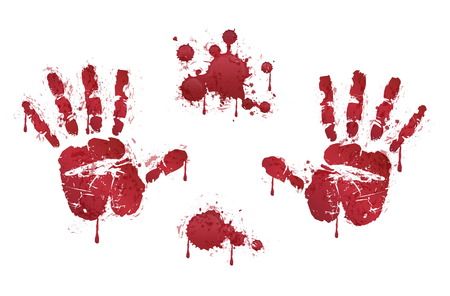 helloween: Bloody red horror handprints and blood drops. Spooky design elements for design and helloween decoration.